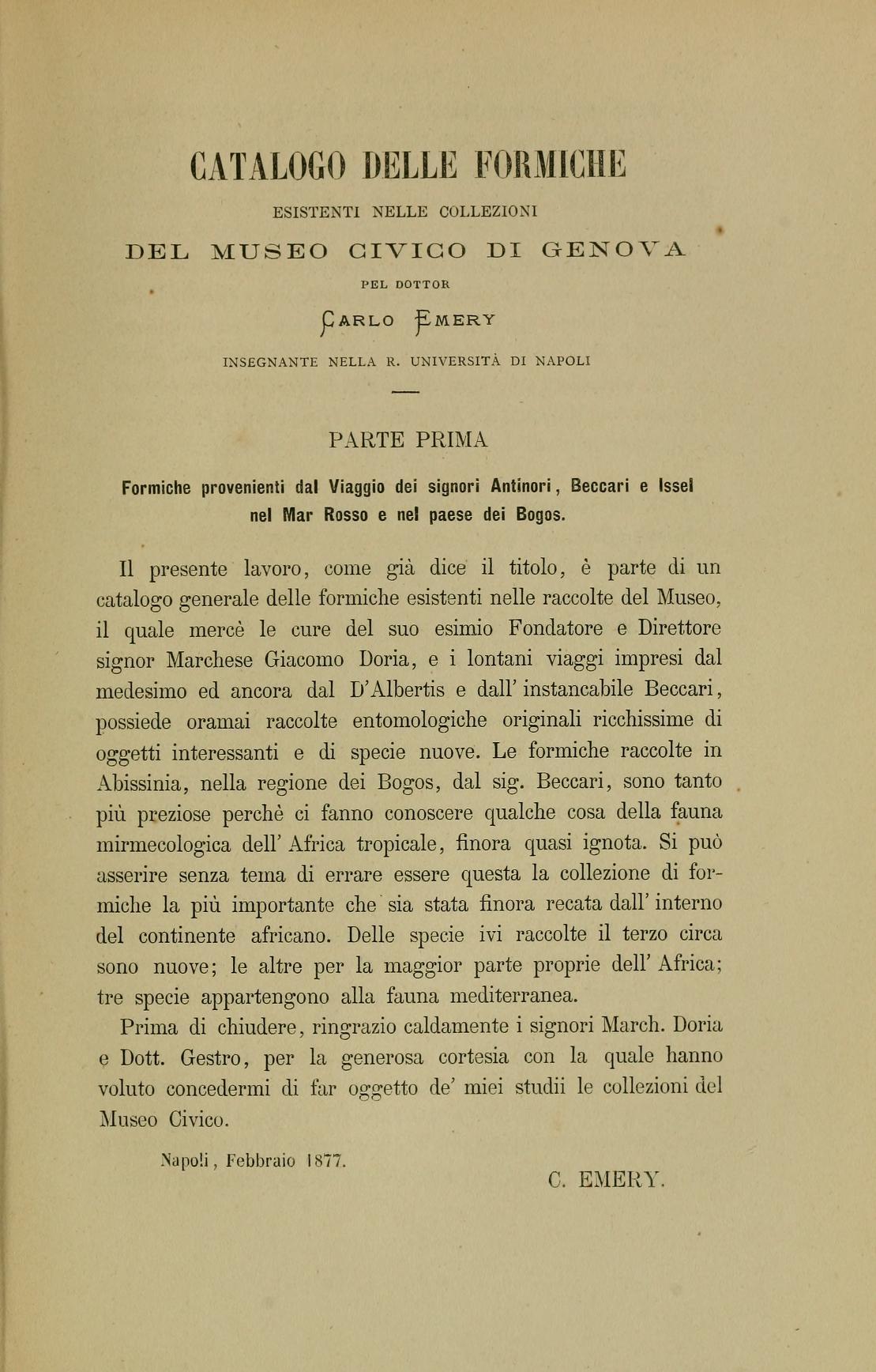 Catalogo delle formiche esistenti nelle collezioni del Museo Civico di Genova
